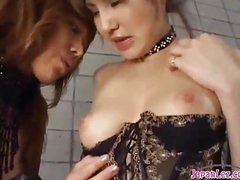 2 Hot Asian Girls In Sexy Lingerie Engulfing Each Other Nipples Patting On The Mattress In The Basement