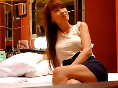 These Oriental amateurs' home porn begins with them teasing every other and undressing to underwear. The guy caresses his hot girlfriend's slender body and pulling down her bra, reveals her tits.