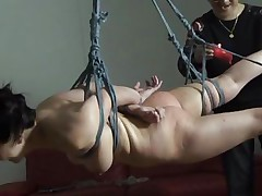 The executor didn't just abased this brunette Nippon milf, he brooked her self esteem and no she accepts her fate. She hangs there and then she is lowered only to stay in cowgirl position. After some more humiliation she receives a hardcore fuck from behind that makes her pretty mouth moan and her mangos bounce